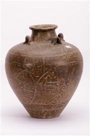 Sale 9015C - Lot 760 - Brown glazed earthenware vessel with incised floral decoration (H37cm)