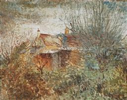 Sale 9067 - Lot 527 - Percy Lindsay (1870 - 1952) - Country Cottage 44.5 x 36 cm (frame: 47 x 57 x 3 cm)