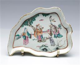 Sale 9093P - Lot 55 - Late Qing Leaf Form Dish with Fuk Suk and Lao