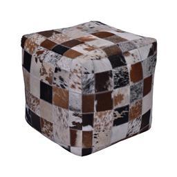 Sale 9140F - Lot 32 - Stitched multi patch premium cow hide leather & cotton square ottoman. Dimensions: W40 x D40 x H40 cm