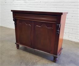 Sale 9142 - Lot 1084 - Late 19th Century Cedar Chiffionier, with shaped frieze drawer & two shield panel doors, raised on turned legs (h:103 x w:122 x d:47cm)