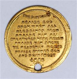 Sale 9144 - Lot 60 - A 19th Century gilt metal medallion with the Lords Prayer and the Doxology - converted to pendant
