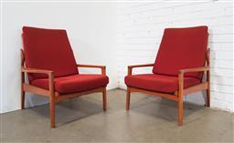 Sale 9151 - Lot 1018 - Pair of vintage teak lounge chairs (h82 x w72 x d70cm)