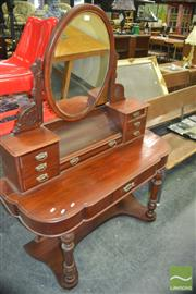 Sale 8402 - Lot 1058 - Victorian Dressing Table with Oval Mirror
