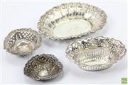 Sale 8635W - Lot 30 - Four Antique Silver Pierced Dishes
