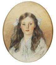 Sale 8755 - Lot 599 - Helen Allingham (1848 - 1926) - Portrait of a Young Girl, 1906 44 x 35cm