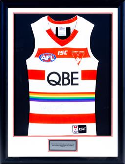 Sale 9130S - Lot 84 - An AFL Sydney Swans Signed Jersey, 2017. Inaugural Game at the SCG. Frame Size 94cm x 71cm