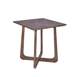 Sale 9140F - Lot 33 - A pair of contemporary new elm wood side table in natural brown. Dimensions: W55 x D58 x H60 cm