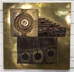 Sale 9151 - Lot 1008 - Retro brass wall plaque ( 51 x 51cm)