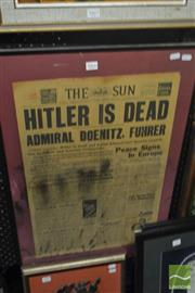 Sale 8537 - Lot 2066 - Front Page of The Sun Newspaper, Wednesday May 2nd 1945