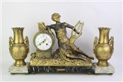 Sale 8749 - Lot 100 - French Three Piece Brass Clock Garniture (H:31cm L:38cm)
