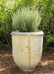 Sale 8908H - Lot 1 - A concrete Anduze pot, planted with lavender. Height of pot 71cm