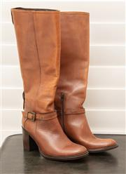 Sale 8902H - Lot 147 - A pair of Italian tan leather knee high heeled boots, with zipper, size 37