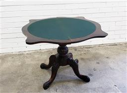 Sale 9085 - Lot 1060 - Victorian Serpentine Fronted Roswood Card Table, with green baize interior, raised on a turned pedestal with outswept legs (h:...