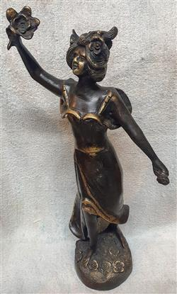 Sale 9093A - Lot 5089 - A Modern Bronze Figure of a Woman holding a Flower, h. 36 cm