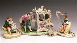 Sale 9104 - Lot 39 - A collection of continental figural groups (4) - minor ware, chips and losses
