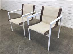 Sale 9151 - Lot 1030 - Pair of B&B Italia outdoor mesh seats by Richard Shultz (h74 x w58 x d50cm)