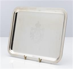 Sale 9255H - Lot 17 - A Christofle Royale silver-plated rectangular tray with engraved Christofle emblem, Length 20cm x Width 16cm, RRP $550.