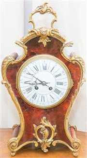 Sale 8341A - Lot 80 - An antique French red boulle 8 day mantle clock, stamped makers mark to movement, with key & pendulum, H 42cm