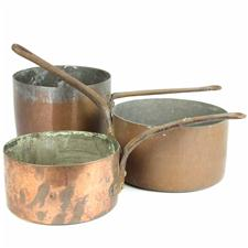 Sale 8351A - Lot 78 - Set of Three Graduated French Copper Saucepans diameter 18-21cm depth 9-11cm(approx weight 6.5kg)