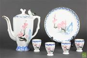 Sale 8521 - Lot 125 - Hand Painted Teawares inc Bird Handle Jug, Cups and Plate
