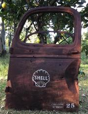 Sale 8579 - Lot 88 - A vintage Chev truck door with Shell logo and Sydney 25 printed with lots of wear and rust commensurate with age, H 123 x W 82cm