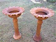 Sale 8600A - Lot 32 - Pair of cast iron bird bath/planters, H 80 x D 40cm.