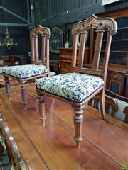 Sale 8617 - Lot 1097 - Set of Ten Victorian Oak Gothic Revival Chairs, with pointed arch backs foliate upholstery & faceted tapering legs