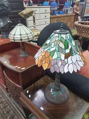 Sale 8648C - Lot 1093 - Leadlight Shade Table Lamps x 2