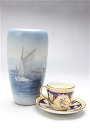 Sale 8698 - Lot 25 - Royal Copenhagen Vase of Kronborg Castle & Cauldon Cup & Saucer
