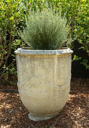 Sale 8908H - Lot 2 - A concrete Anduze pot, planted with lavender. Height of pot 71cm