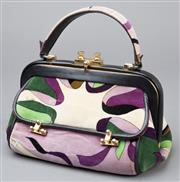 Sale 8541A - Lot 52 - A vintage Emilio Pucci framed velvet satchel with gilt hardware in classic Pucci print in purple and green, good condition, W 26cm