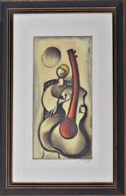 Sale 8778A - Lot 5033 - David Schluss - Guitar Melody 66 x 82.5cm (frame)