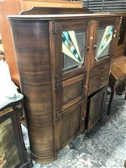 Sale 8822 - Lot 1826 - Art Deco Kitchen Cabinet with Leadlight Doors
