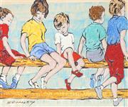 Sale 9032A - Lot 5078 - David Bromley (1960 - ) - On The Fence 24 x 27 cm (frame: 49 x 57 x 3 cm)