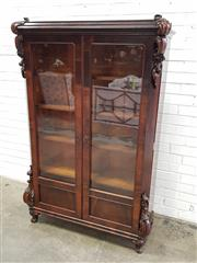 Sale 9068 - Lot 1070 - Late 19th Century Possibly Dutch Rosewood Bookcase or Display Cabinet, with Baltic pine secondaries, having two glass panel doors wi...