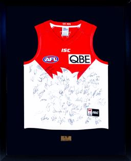 Sale 9130S - Lot 83 - A 2017 Sydney Swans signed jersey number 107/491 Frame Size 109cm x 88cm.