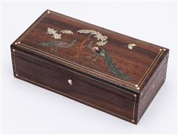 Sale 9170H - Lot 28 - An Indian carved rosewood and inlaid box with peacock and tree design inlay, Height 6.5cm x 20.5cm x Depth 10cm