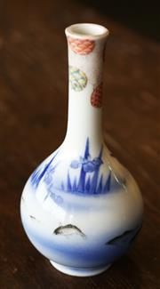 Sale 8319 - Lot 421 - A Japanese Fukagawa bottle vase painted with fish