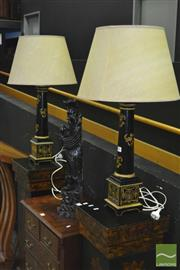 Sale 8347 - Lot 1002 - Pair of Column Form Table Lamps