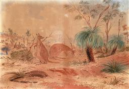 Sale 8427 - Lot 560 - Samuel Thomas Gill (1818 - 1880) - Kangaroos Grazing, 1874 23.5 x 34cm
