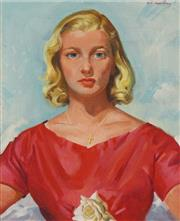 Sale 8732A - Lot 5056 - George W. Crossley (1919-1973) - Pin-Up Blonde, c1950 50 x 40cm