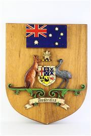 Sale 8806 - Lot 42 - Australian Coat Of Arms On Timber Plaque ( W39cm x H 48cm)