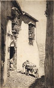 Sale 9021 - Lot 586 - Lionel Lindsay (1874 - 1961) - A Hawker, Ronda, Spain 28 x 17.5 cm (sheet: 32 x 22 cm )