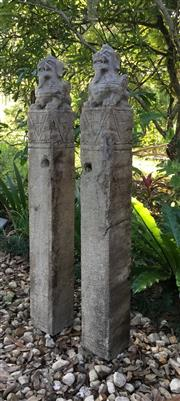 Sale 9015G - Lot 15 - Pair Of Carved Stone Chinese Pi Xiu Dragon Horse Hitching Post.Carved From Single Pieces Of Genuine Stone .General Wear ,Some Chip...