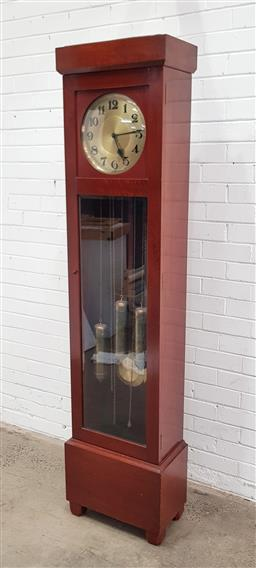 Sale 9108 - Lot 1072 - Art Deco long case clock with German movement - damage to glass face