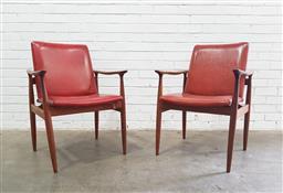 Sale 9117 - Lot 1040 - Pair of Parker Ballarat teak frame armchairs (h73 x w57 x d55cm)