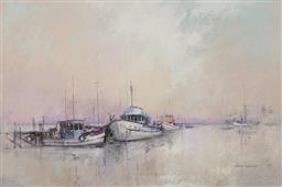 Sale 9161A - Lot 5047 - JOHN LOVETT (1953 - ) Afternoon Reflections, Bermagui oil on board 59.5 x 90 cm (frame: 81 x 111 x 5 cm) signed lower right, titled ...