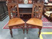 Sale 8774 - Lot 1035 - Pair of Victorian Walnut Chairs, loosely in the Renaissance style, with open medallion backs, timber seats & turned reeded legs, ex...
