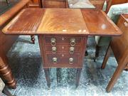 Sale 8814 - Lot 1033 - Small Regency Mahogany Pembroke Table, with cross-banded top, fitted with three drawers & on ring turned legs (Two Handles in Office)